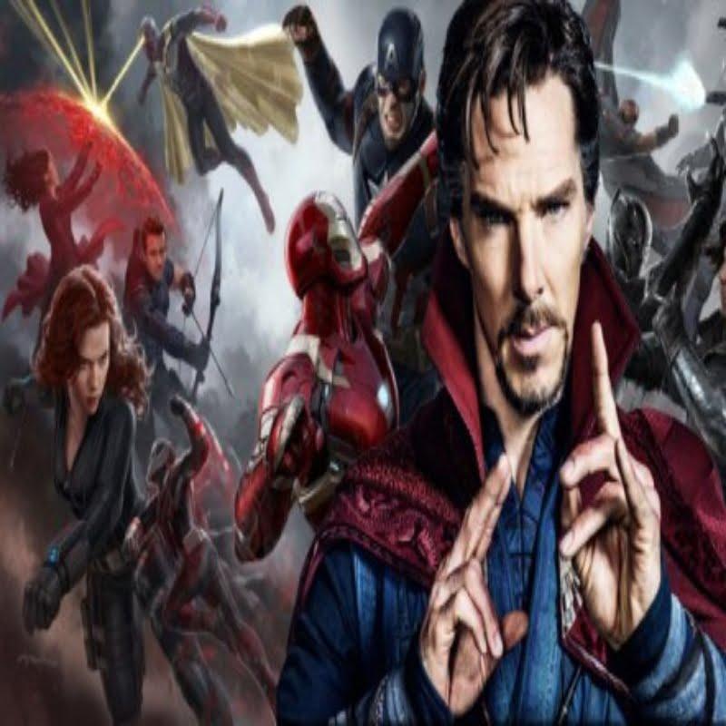 Doctor Strange posing with Avengers