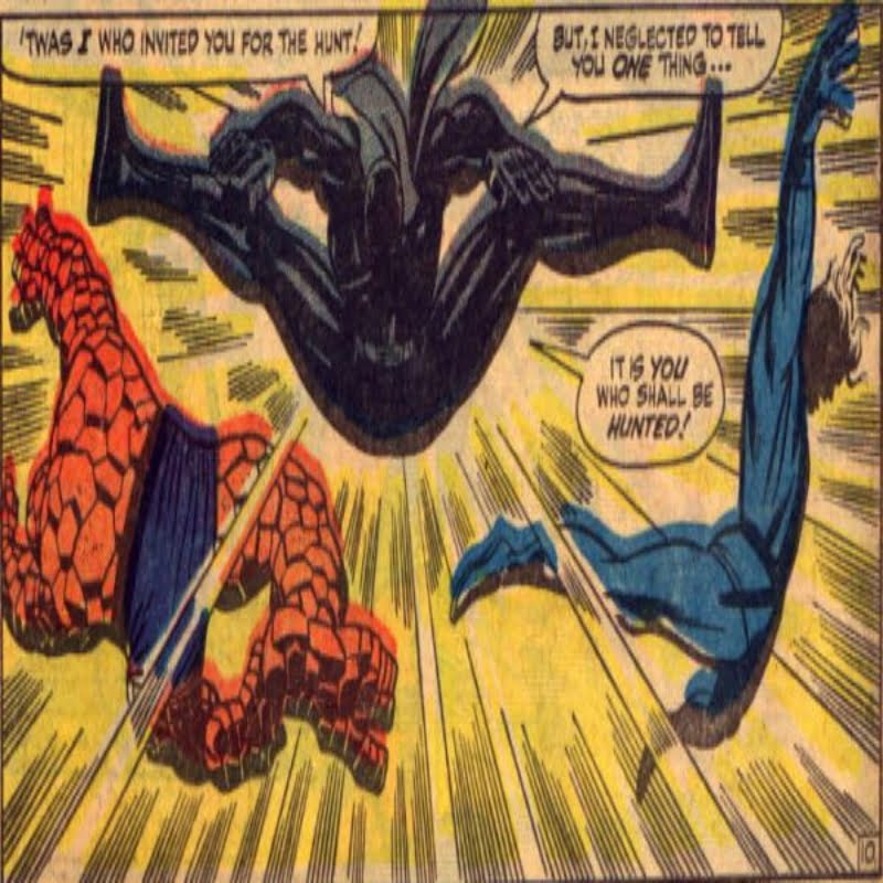 Black Panther fighting Fantastic Four