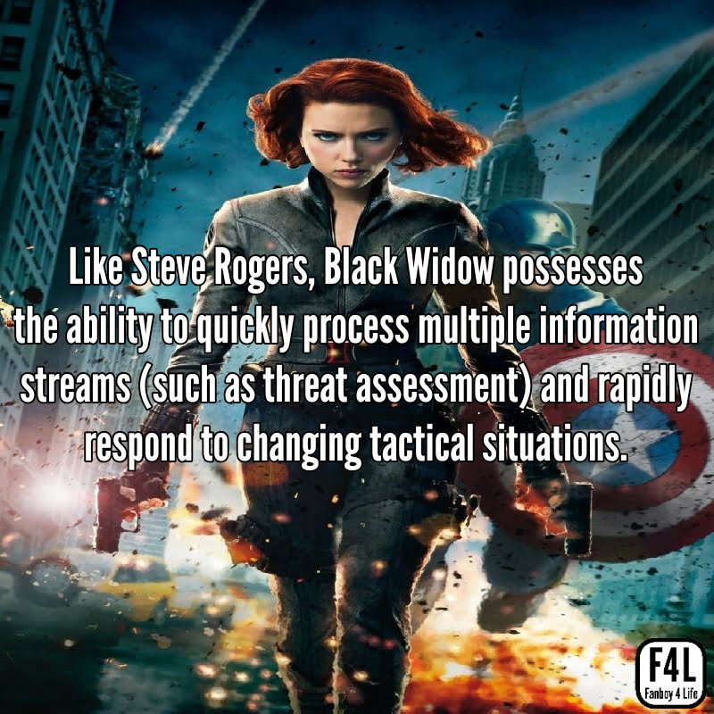 Black Widow posing with Captain Americs