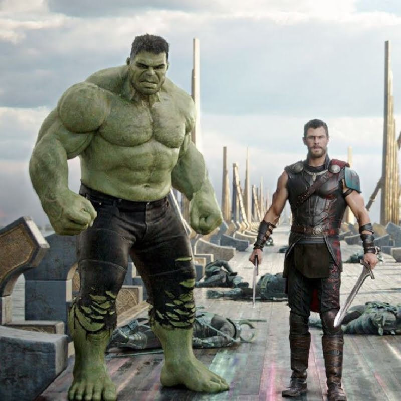 Hulk standing with Thor