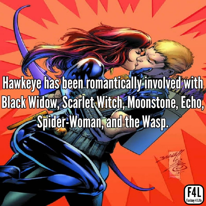 Hawkeye kissing Black Widow